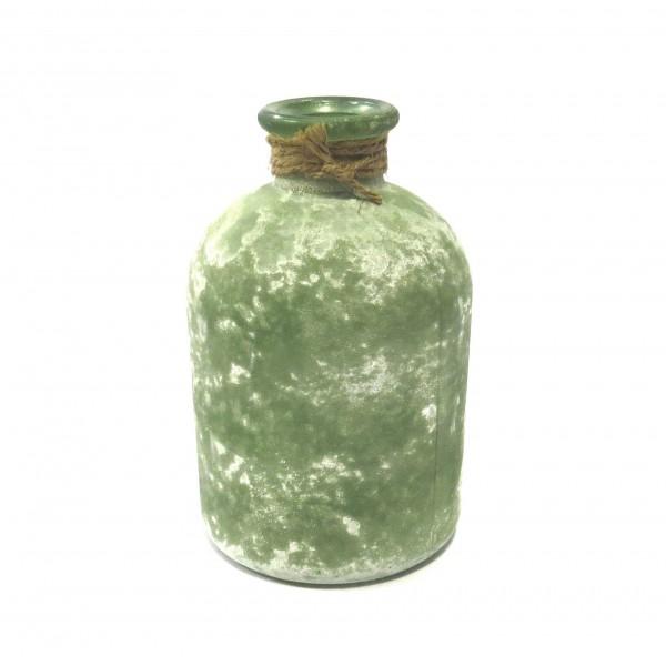 Vase Flasche Glas Deko Grün Shabby Natur Modern 11x11x17 cm Natural Collektions
